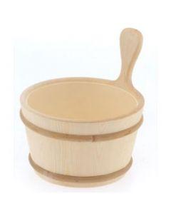 Finnish Sauna Wood Bucket with Plastic Liner 1 Gallon