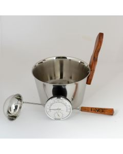 Luxury Finnish Sauna Bucket in Stainless Steel, Matching Ladle and Thermometer/Hygrometer
