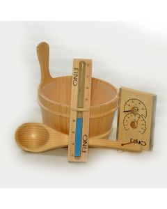 Finnish Sauna Bucket, Ladle, Thermometer / Hygrometer and Sand Timer Kit