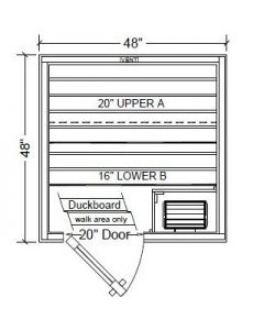 4x4 FINO Pre-Built Sauna Room in Clear White Aspen