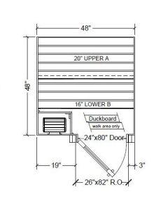4x4 Clear Western Red Cedar Custom Sauna Kit