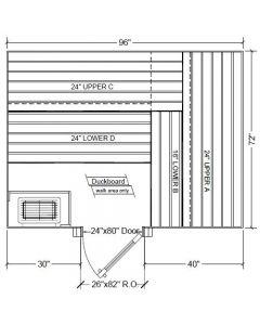 6x8 Clear Western Red Cedar Custom Sauna Kit