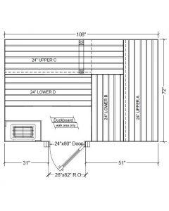 6x9 Clear Western Red Cedar Custom Sauna Kit