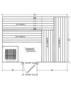 7x10 Clear Western Red Cedar Custom Sauna Kit