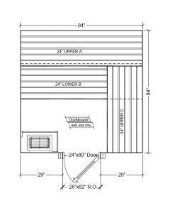 7x7 Clear Western Red Cedar Custom Sauna Kit