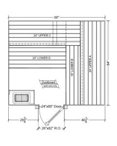 7x8 Clear Western Red Cedar Custom Sauna Kit