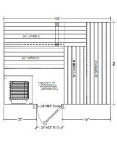 7x9 Clear Western Red Cedar Custom Sauna Kit