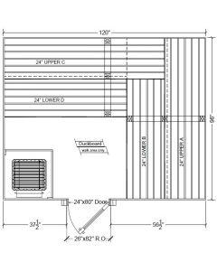 8x10 Clear Western Red Cedar Custom Sauna Kit