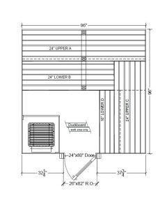 8x8 Clear Western Red Cedar Custom Sauna Kit