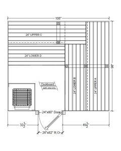 8x9 Clear Western Red Cedar Custom Sauna Kit