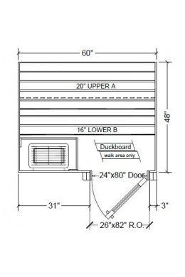 4x5 Clear Western Red Cedar Custom Sauna Kit Layout Shown with RIGHT Hinge Douglass Fir Sauna Door