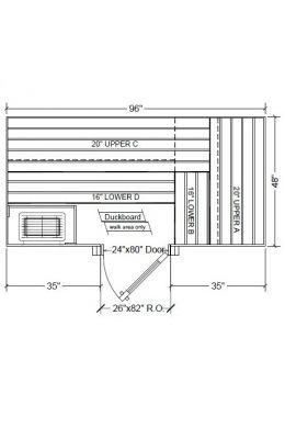 4x8 Clear Western Red Cedar Custom Sauna Kit