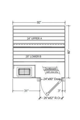5x5 Clear Western Red Cedar Custom Sauna Kit